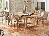SAM Teak-Holz Gartengruppe, 5tlg. Set aus 1x Holztisch + 4x Gartenstühle, Ausziehtisch 120–170 cm, mit Schirmloch