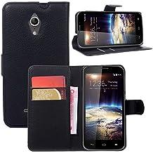 Guran® Funda de Cuero Para Vodafone Smart 4 Turbo Smartphone Tirón de la Cubierta de la Función de Ranura Tarjetas y Efectivo Caso