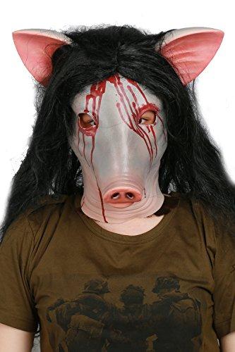 pf Killer Latex Maske mit Schwarz Perücke für Carnival Horror Cosplay Kostüm Merchandise (Kind-schwein Kostüm Halloween)