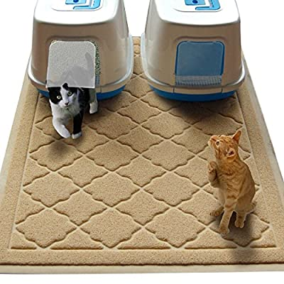Easyology Jumbo Size Cat Litter Mat - (47 x 36 in) - Extra Large Scatter Control Kitty Litter Mats for Cats Tracking Litter Out of Their Box - Soft to Paws- (Patent Pending)