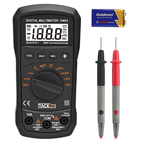 Multimetros digitales, Tacklife DM03 polimetro digital 2000 Counts AC/DC Tester Electrico con Voltímetro, Amperímetro, Ohmímetro, Multi Tester con resistencia, diodo y continuidad audible