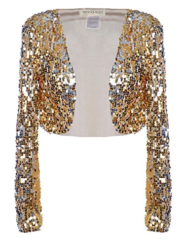 Anna-Kaci Womens Shiny Sequin Long Sleeve Cropped Blazer Bolero Shrug