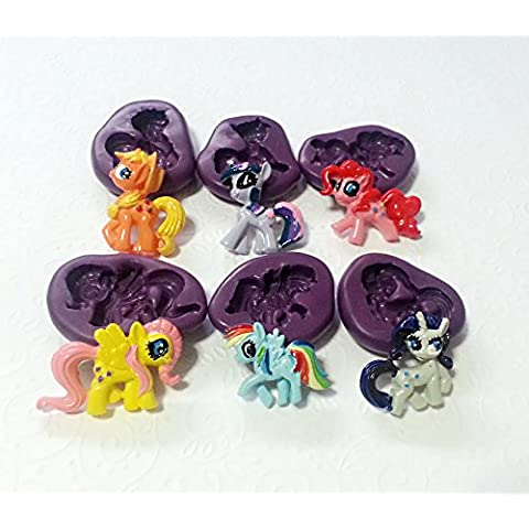 Silicone Molds My Little Pony MLP Moulds Set (26-35mm) Cupcake Topper Sugarcraft by Simply Molds