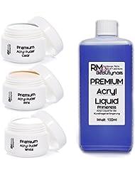 3x20g Acryl Puder Set 3-100ml Liquid Klar - Weiß - Pink Powder in Studio Qualität