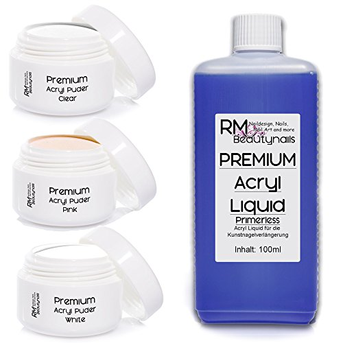 RM Beautynails Acryl Modellage Set 3 - 100ml Liquid je 20g Klar - Weiß - Pink Puder Powder in Studio Qualität Nageldesign (Profi Acryl-pulver)