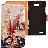 Lankashi PU Flip Funda De Carcasa Cuero Case Cover Piel Para ZTE Grand Memo V9815 N5 Wings Girl Design