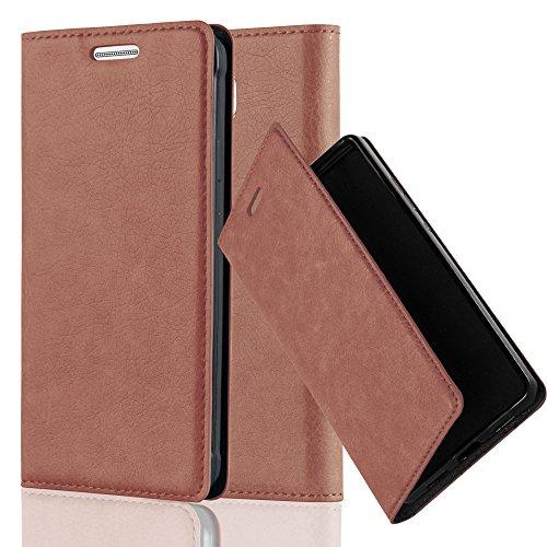 Cadorabo Hülle für Samsung Galaxy Alpha - Hülle in Cappuccino BRAUN – Handyhülle mit Magnetverschluss, Standfunktion und Kartenfach - Case Cover Schutzhülle Etui Tasche Book Klapp Style