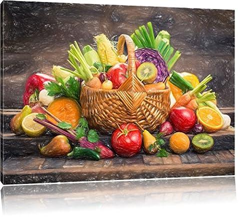 fruits et légumes frais dans l'effet de crayon panier de l'art, format: 100x70 sur toile, XXL énormes Photos complètement encadrées avec civière, impression d'art sur murale avec cadre, moins cher que la peinture ou une peinture à l'huile, pas une affiche ou une bannière,