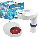 Linxor France ® Alarme de piscine JB P-03 + sirène déportée - Piles fournies - Testeur chlore, ph et brome offert- Normes NF P90-307-1