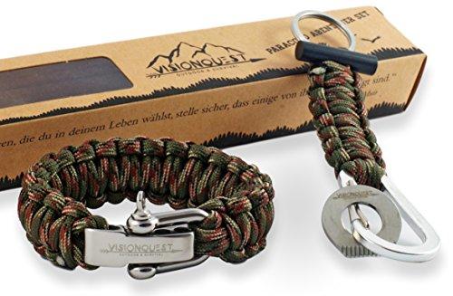 Visionquest Outdoor & Survival Paracord Herren Armband und Schlüsselanhänger mit Feuerstahl   Inkl. Flechtanleitung im E-book   Inkl. Zubehör   Das Set für dein Abenteuer