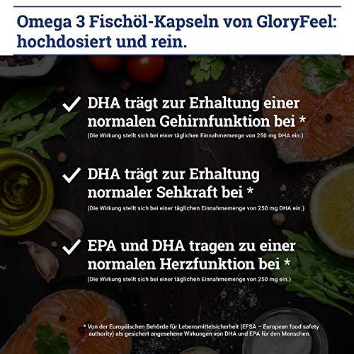 GloryFeel® Omega 3 Fischöl-Kapseln 1000mg – Der VERGLEICHSSIEGER 2019* – 400 Stück Hochdosiert – Mit 180mg EPA und 120mg DHA pro Omega-3 Softgel-Kapsel – Laborgeprüfte Herstellung in Deutschland