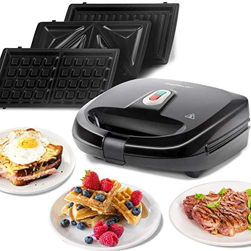 Aigostar Rubik 30JVU 750W Black Sandwich Maker/Grill/Waffle 3 IN 1. Dimensioni compatte con sistema automatico termostatico piastre antiaderenti e