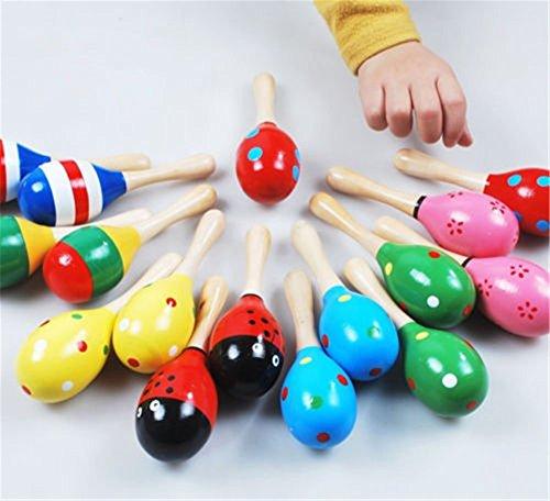 12cmX3.5cm Wooden Maraca Rattle Shaker Sand Hammer Ball Egg Baby Kids Musical Sound Toy Party Favor Fun Toy Color Random - Mumustar