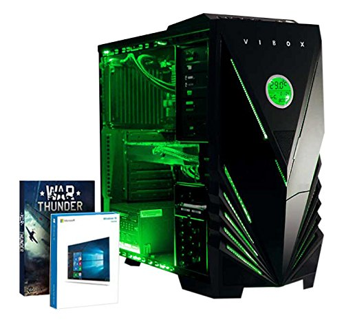 Vibox Sniper 10W Gaming PC - with Warthunder Game Bundle, Windows 10 (4GHz Intel i7 Quad Core Processor, Nvidia Geforce GTX 970 Graphics Card, 120GB Solid State Drive, 1TB Hard Drive, 16GB RAM, Vibox Predator Green LED Case)