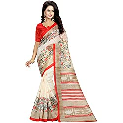 J B Fashion Women's Bhagalpuri cream Saree With Blouse Piece