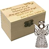 Personalised Wooden Box Holding a Guardian Angel Keepsake Glass Figurine, Engraved with a Poem