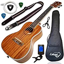 Ukulele Concert Size Bundle By Lohanu (LU-C) All Accessories Included – 2 Strap Pins Installed Nylon Strap Padded Case Tuner Leather & Plastic Picks Ukelele Hanger Aquila Strings Free Video Lessons!