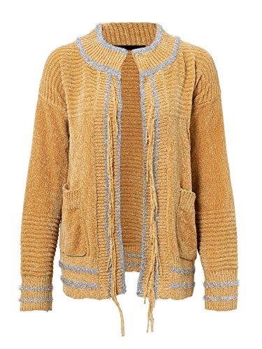 Melegant Damen Strickjacke Elegant Kurz Knit Langarm Cardigan Strickmantel mit Taschen Gelb