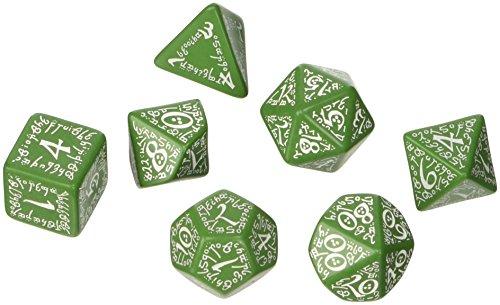 Q-Taller Elven SELV14 Dados Juego de RPG, verde y blanco