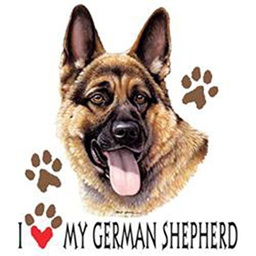 Sexy Girlie Shirt mit süßem Hunde Motiv - I love my German Shepherd - Hundebild - Geschenk für alle Tierliebhaber und Hundefans - weiss Weiß