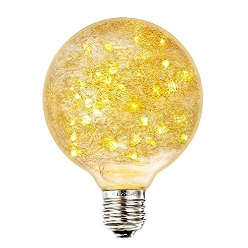 TAIZ Lampadina Edison Decorativa,E27 Lampadina Globo 50LED Forma Di Nido 2200K Lampadina Basso Consumo 85-265V Modello G95 Adatto Per Illuminazione Decorativa E Ambientale [Classe Di Efficienza Energe