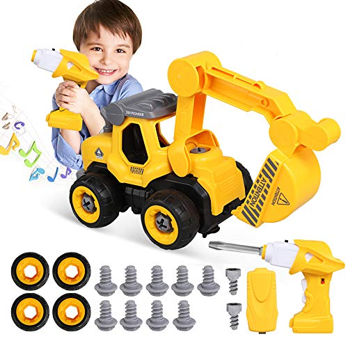Lehoo Castle Montage Spielzeug Autos Baufahrzeuge, LKW Spielzeug mit Bohrer, Spielzeug Zerlegen mit Fernbedienung und Musik, Kinder DIY Gebäude Spielzeug for 3-9 Jahre Alt (Jahre Spielzeug Altes Drei)