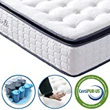 Matratze 90x200 Federkernmatratze Vesgantti 7-Zonen Taschenfederkernmatratze Modern Tonnentaschenfederkernmatratze 10 Jahre Garantie Comfort Boxspring Mattress (H4, fashion Pillow-top 26cm)