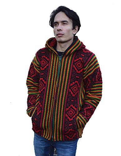Wigwam South American 100% Wolle Hand Made Jacke Rasta-Farben Größe M - 100% Wolle Jacke
