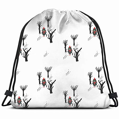 Desing shop cat Dark Forest Pattern Animals Wildlife Drawstring Backpack Bag Gym Sack Sport Beach Daypack for Girls Men & Women Teen Dance Bag Cycling Hiking Team Training 17X14 Inch -