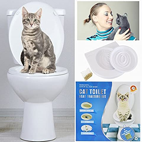 Cat Toilet Training Seat Litter Tray Kit Pet Kitty Potty Train System Cat Nip With Step By Step Training