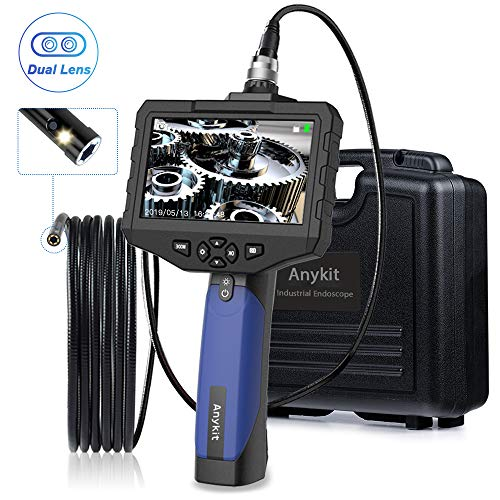 Anykit Inspektionskamera, wasserdichtes Endoskop Doppelkopfkamera 8mm Durchmesser Sonde, 4,3 -Zoll -Farb-LCD-Bildschirm, 2600mAh Akku Kanalkamera mit LED (3 Meter Langer)