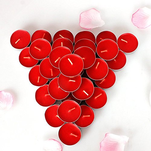 Rightwell Paquete de 50 Velas Pequeñas,Candelitas(Rojo)