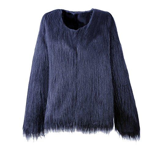 Donna cappotto corto di pelliccia ecologica di faux giacca blazer giacca corta pelliccia a maniche lunghe s navy