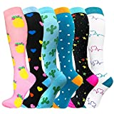 Compression Socks for Women and Men-Best Medical,for Running,Nursing,Circulation & Recovery, Hiking Travel & Flight Socks (B2-01-Multicolour-6 Pairs, S/M) ...