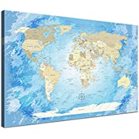'Lana KK a World Map FROZENTela Mappamondo, Cornice in Legno,