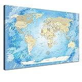 """LANA KK - Weltkarte Leinwandbild mit Korkrückwand zum pinnen der Reiseziele – """"Worldmap Frozen"""" - spanisch - Kunstdruck-Pinnwand Globus in blau, einteilig & fertig gerahmt in 60x40cm"""