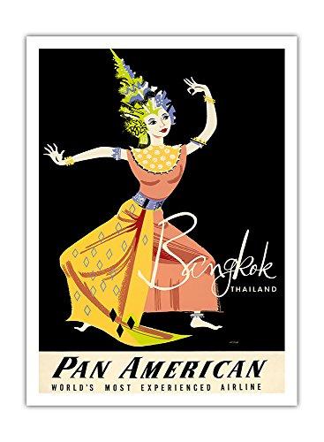 bangkok-thailande-pan-american-airlines-paa-femme-thai-danseuse-classique-airline-affiche-vintage-de