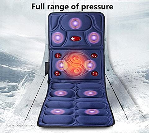 CHENGREN matelas de massage chauffant multifonction choc électrique corps couverture de massage personnes âgées coussins de massage équipement de massage de santé de taille pliable bleu et rouge 167 * 61 * cm , 1
