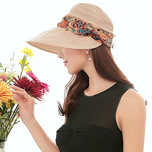 e8e7ad5f000 Paciffico Women 2 in 1 Foldable Sun Hat With Neck Flap Breathable Quick Dry  360°Protection Outdoor Sports Visor Large Brim UV Sun Protection UPF 50+  Beach ...