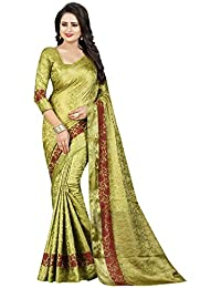 SATYAM WEAVES WOMEN'S ETHNIC WEAR JARI BORDERED COTTON SILK SAREE. (PEACOCK)