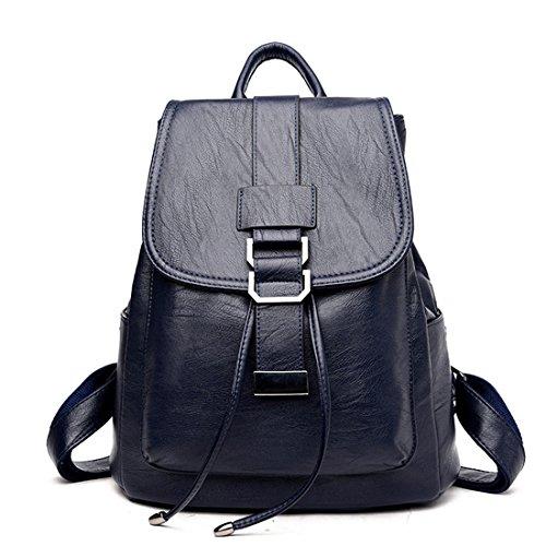 Frauen Rucksack Ankunft Einfache Casual Schultasche Medium Size Leder Rucksack Mädchen Daily Bag Reisetaschen Baobao Blau