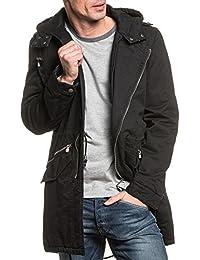 Gov Denim - Parka stylé noir long à capuche pour homme
