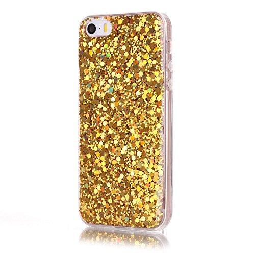 TPU Silikon für iPhone SE/iPhone 5/5S,Glitzer Handyhülle für iPhone SE/iPhone 5/5S,Funyye Luxuriös Rot Glänzend Bling Pailletten Kristall Durchsichtig Rahmen Shinning Glitter Gel Silikon TPU Hülle TPU Gold