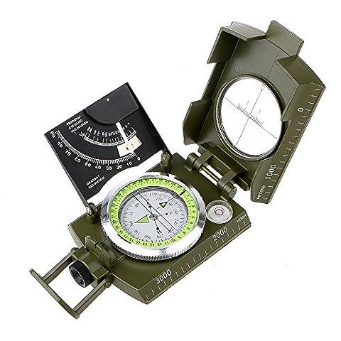 Boussole professionnelle Compass Métallique Taille de Poche Boussole Militaire Imperméable Compass Multifonction avec Inclinomètre pour Camping Exploration Excursion Géologie et d