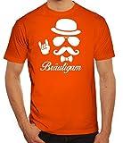 Junggesellenabschied JGA Herren Männer T-Shirt Rundhals Sunglasses Bräutigam Kombi, Größe: S,Orange