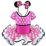 Tiaobug Mädchen Kinder Kostüm Kleid Ballettkleid Party Fasching Cosplay Verkleidung Dunkel Rosa 98-104