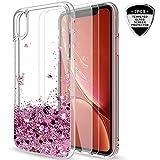 LeYi Coque iPhone XR Etui avec Verre Trempé [Lot de 2], Fille Personnalisé Liquide...