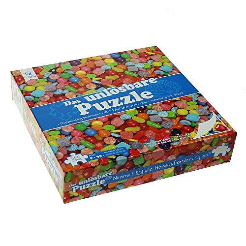 Gadget Storm Unlösbares Puzzle mit Bonbons Motiv, 500 beidseitig Bedruckte und Fast identische Teile, Knobelspiel ab 9 Jahren