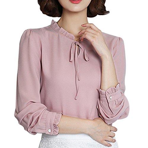 MAYOGO 2019 Fashion Damen Sommer Frühling Chiffon Bluse Lose Langarm T-Shirt Casual Tops Blouse