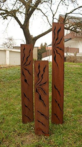 floristikvergleich.de Gartendeko Rost Säulen Dreiecke Familie 125 x 100 x 80 cm